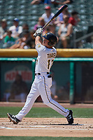 Matt Thaiss (17) of the Salt Lake Bees bats against the El Paso Chihuahuas at Smith's Ballpark on July 8, 2018 in Salt Lake City, Utah. El Paso defeated Salt Lake 15-6. (Stephen Smith/Four Seam Images)
