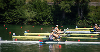 """Lucerne, SWITZERLAND, 13th July 2018, Friday,  """"USA W1X"""", """"Kara  KOHLER"""", at the """"start of her heat""""' in the """"Women's Single Sculls"""", at the  FISA World Cup series, No.3, Lake Rotsee, © Peter SPURRIER."""