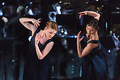 """12/05/2015. London, England. Hannah Rudd and Vanessa Kang performing. Rambert Dance Company perform the World Premiere of """"Dark Arteries"""" by Mark Baldwin as part of a triple bill at Sadler's Wells Theatre. Rambert perform with the Tredegar Town Band and the Rambert Orchestra from 12 to 16 May 2015."""