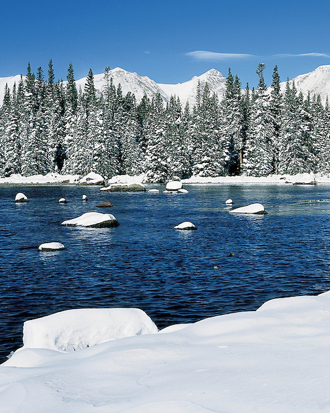 Red Rock Lake and fresh snow in the Indian Peaks Wilderness Area, Boulder, Colorado, USA. .  John leads private photo tours in Boulder and throughout Colorado. Year-round Boulder photo tours.