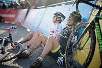Asa Erlandsson (SWE) &amp; Nadja Heigel (AUT) drop exhausted to the ground straight after finishing<br /> <br /> Superprestige Francorchamps 2014