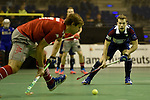 Berlin, Germany, January 31: During the 1. Bundesliga Herren Hallensaison 2014/15 semi-final hockey match between Rot-Weiss Koeln (dark blue) and Club an der Alster (red) on January 31, 2015 at the Final Four tournament at Max-Schmeling-Halle in Berlin, Germany. Final score 4-3 (2-2). (Photo by Dirk Markgraf / www.265-images.com) *** Local caption *** Florian Scholten #9 of Rot-Weiss Koeln