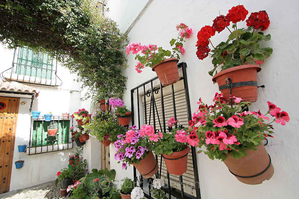 Typical Spanish courtyard with flower pots. & Spanish House with Flower Pots   Marc Anderson Photography