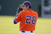 Starting pitcher Jonathan Meyer (28) of the Clemson Tigers before in a game against the Furman Paladins on Wednesday, May 8, 2013, at Fluor Field at the West End in Greenville, South Carolina. (Tom Priddy/Four Seam Images)