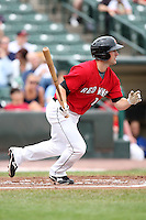 May 2, 2010:  Outfielder Brian Dinkelman (12) of the Rochester Red Wings at bat during a game vs. the Durham Bulls at Frontier Field in Rochester, NY.  Rochester defeated Durham in extra innings by the score of 7-6.  Photo By Mike Janes/Four Seam Images