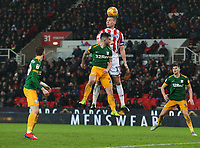 Preston North End's Darnell Fisher battles with Stoke City's Ryan Shawcross<br /> <br /> Photographer Stephen White/CameraSport<br /> <br /> The EFL Sky Bet Championship - Stoke City v Preston North End - Saturday 26th January 2019 - bet365 Stadium - Stoke-on-Trent<br /> <br /> World Copyright © 2019 CameraSport. All rights reserved. 43 Linden Ave. Countesthorpe. Leicester. England. LE8 5PG - Tel: +44 (0) 116 277 4147 - admin@camerasport.com - www.camerasport.com