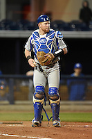 Indiana State Sycamores catcher Kaden Moore (12) during a game against the Vanderbilt Commodores on February 20, 2015 at Charlotte Sports Park in Port Charlotte, Florida.  Vanderbilt defeated Indiana State 3-2.  (Mike Janes/Four Seam Images)