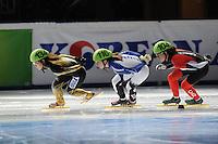 SCHAATSEN: DORDRECHT: Sportboulevard, Korean Air ISU World Cup Finale, 10-02-2012, Biba Sakurai JPN (134), Tiffany Huot Marchand FRA (116), Marie-Eve Drolet CAN (104), ©foto: Martin de Jong