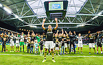 Solna 2015-07-26 Fotboll Allsvenskan AIK - IF Elfsborg :  <br /> AIK:s Alessandro Pereira med lagkamrater jublar framf&ouml;r AIK:s supportrar efter matchen mellan AIK och IF Elfsborg <br /> (Foto: Kenta J&ouml;nsson) Nyckelord:  AIK Gnaget Friends Arena Allsvenskan Elfsborg IFE jubel gl&auml;dje lycka glad happy supporter fans publik supporters