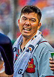 8 July 2017: Atlanta Braves catcher Kurt Suzuki stands in the dugout during a game against the Washington Nationals at Nationals Park in Washington, DC. The Braves shut out the Nationals 13-0 to take the third game of their 4-game series. Mandatory Credit: Ed Wolfstein Photo *** RAW (NEF) Image File Available ***