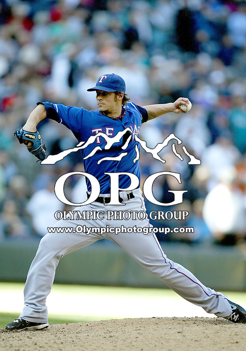 04 October 2009: Texas Rangers relief pitcher C.J. Wilson came in for relief in the 8th inning against the Seattle Mariners. Seattle won 4-3 over the Texas Rangers at Safeco Field in Seattle, Washington.