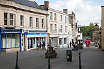 Pedestrianised shopping street in the town of Calne, Wiltshire, England