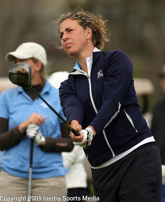 RAPID CITY, SD - MAY 15, 2009 :  Shanna Page of Bethel College watches her shot on the 1st tee at Meadowbrook Municipal Golf Course in Rapid CIty Friday during the final round of the 2009 NAIA Women's Golf National Championships. (Photo by Dick Carlson/Inertia)