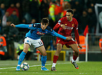 Eljif Elmas of Napoli and Trent Alexander-Arnold of Liverpool during the UEFA Champions League match at Anfield, Liverpool. Picture date: 27th November 2019. Picture credit should read: Andrew Yates/Sportimage