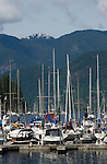 Boats at anchor in Deep Cove,Vancouver, British Columbia, Canada.