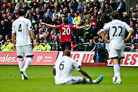 Saturday 17 August 2013<br /> <br /> Pictured: Robin van Persie of Manchester United Celebrates a Manchester United goal<br /> <br /> Re: Barclays Premier League Swansea City v Manchester United at the Liberty Stadium, Swansea, Wales
