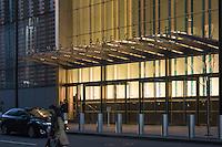 One World Trade Center Main Office Entrance, North Elevation, at Dusk. 20 May 2015
