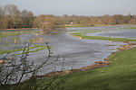 River Waveney on the Suffolk and Norfolk border England. A stretch of the river in flood between Harleston and Homersfield January 2007.