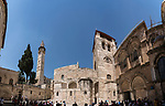 A panorama of the minaret of the Mosque of Omar, the parvis or courtyard, and the facade of the Church of the Holy Sepulchre in the Christian Quarter of the Old City of Jerusalem.  The Old City of Jerusalem and its Walls is a UNESCO World Heritage Site.  This church was built over the site believed by many to be location of the death and burial of Jesus Christ.