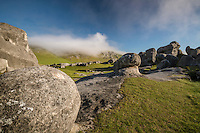 Castle Hill Rocks, Misty Morning, Canterbury , New Zealand - stock photo, canvas, fine art print