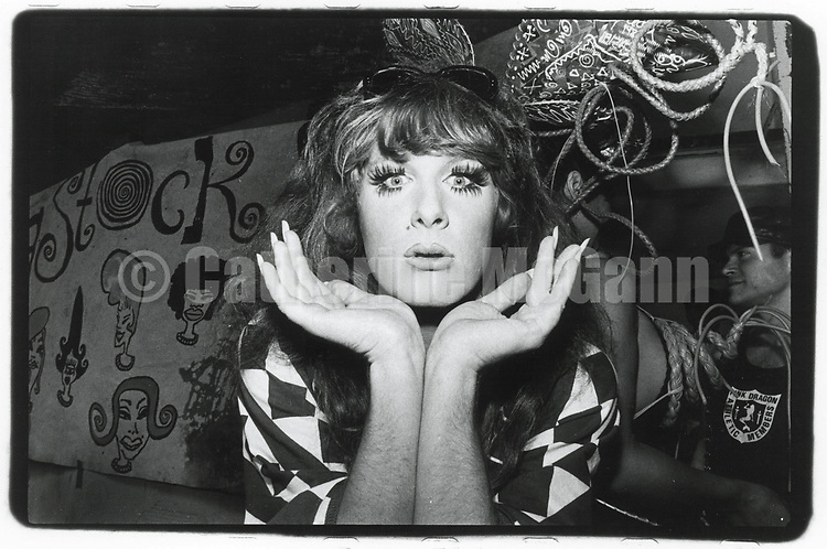 1989:  A portrait of drag queen Lady Bunny  at Wigstock, an annual outdoor drag festival in Thompkins Square Park in New York City.