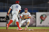 Clearwater Threshers second baseman Drew Stankiewicz (15) waits for the ball from shortstop Devin Lohman (8) to turn a double play during a game against the Dunedin Blue Jays on April 10, 2015 at Florida Auto Exchange Stadium in Dunedin, Florida.  Clearwater defeated Dunedin 2-0.  (Mike Janes/Four Seam Images)