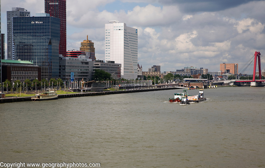 Tug boats of River Maas at Boompjes, waterfront area of central Rotterdam, Netherlands