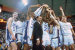 01 APR 1991:  Duke celebrates after winning the NCAA Final Four basketball championship in Indianapolis, IN at the RCA Dome. Duke defeated Kansas 72-65 for the title. Photo Copyright Rich Clarkson