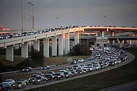 "Late afternoon sun falls on the ""Spaghetti Bowl"" Mopac exchange in northwest Austin connects Highway 183, Mopac Loop 1 and Loop 360, the Capital of Texas Highway."