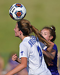 Notre Dame's Livia Wunderlich heads the ball as she's pressured by a Rosati-Kain defender. Notre Dame High School (Cape Girardeau) defeated Rosati-Kain in the Class 2 girls quarterfinal game played at St. Louis University High School in St. Louis, MO on Wednesday May 22, 2019.<br /> Tim Vizer/Special to Southeast Missourian