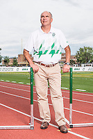 Adams State University Head Coach and Director of Cross Country and Track and Field Damon Martin (cq) on the track in Alamosa, Colorado, Monday, August 17, 2015.<br /> <br /> Photo by Matt Nager