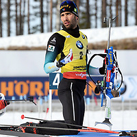 March 14th 2020, Kontiolahti, Finland;   Martin Fourcade of France warms up ahead of the mens 12.5km Pursuit competition at the IBU Biathlon World Cup in Kontiolahti, Finland, on March 14th, 2020. Fourcade is to end his career at the end of the season, which is todays compeititon. He took his first World Cup victory in Kontiolahti exactly 10 years ago on March 14, 2010.