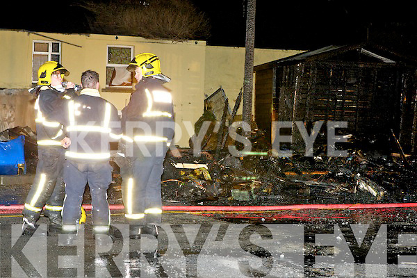 Brave firefighters who tackled the fire Old Milk Market lane in Killarney on Tuesday night....