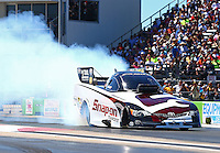 Sept. 21, 2013; Ennis, TX, USA: NHRA funny car driver Cruz Pedregon during the Fall Nationals at the Texas Motorplex. Mandatory Credit: Mark J. Rebilas-
