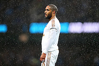 Ashley Williams during the Barclays Premier League Match between Manchester City and Swansea City played at the Etihad Stadium, Manchester on 12th December 2015