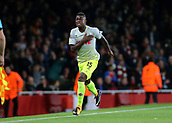 14th September 2017, Emirates Stadium, London, England; UEFA Europa League Group stage, Arsenal versus FC Cologne; Jhon Cordoba of FC Koln celebrates from a clearance mistake by Arsenal Goalkeeper David Ospina in the 9th minute, 0-1 FC Koln