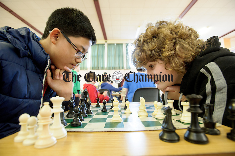 Concentrating hard on their future moves at the Clare Community games chess county finals in St Flannan's college, Ennis. Photograph by John Kelly.