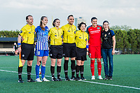 Boston, MA - Friday May 19, 2017: Julie King and Christine Sinclair with referees during opening ceremonies at a regular season National Women's Soccer League (NWSL) match between the Boston Breakers and the Portland Thorns FC at Jordan Field.