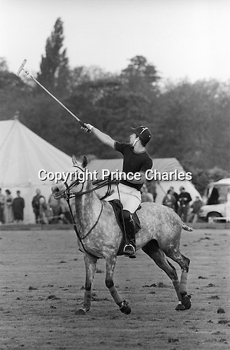 Prince Charles playing Polo at the Ham Polo Club ground Surrey near London UK 1980s. ..