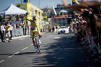yellow jersey / GC leader Julian Alaphilippe (FRA/Deceuninck - Quick-Step) rolling over the finish line<br /> <br /> Stage 13 (ITT): Pau to Pau(27km)<br /> 106th Tour de France 2019 (2.UWT)<br /> <br /> ©kramon
