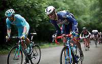 Kenny Dehaes (BEL/Wanty-Groupe Gobert) &amp; Laurens De Vreese (BEL/Astana) struggling up the steepest hill on the course<br /> <br /> Belgian National Road Cycling Championships 2016<br /> Les Lacs de l'Eau d'Heure