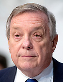 """United States Senator Dick Durbin (Democrat of Illinois) joins in the debate about the release of documents designated """"committee confidential"""" prior to the US Senate Judiciary Committee beginning the third day of testimony from Judge Brett Kavanaugh on his nomination as Associate Justice of the US Supreme Court to replace the retiring Justice Anthony Kennedy on Capitol Hill in Washington, DC on Thursday, September 6, 2018.<br /> Credit: Ron Sachs / CNP<br /> (RESTRICTION: NO New York or New Jersey Newspapers or newspapers within a 75 mile radius of New York City)"""
