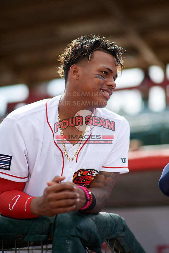 Florida Fire Frogs Cristian Pache (25) in the dugout during a rain delay before a game against the Daytona Tortugas on April 7, 2018 at Osceola County Stadium in Kissimmee, Florida.  Daytona defeated Florida 4-3 in a six inning rain shortened game.  (Mike Janes/Four Seam Images)
