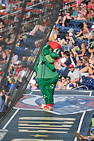 Mascot Reedy Rip'It of the Greenville Drive in a game against the Columbia Fireflies on Sunday, April 24, 2016, at Fluor Field at the West End in Greenville, South Carolina. Greenville won, 5-1. (Tom Priddy/Four Seam Images)