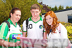 PAPER: Merissa Foley and Conor McKenna (Cromane) and Courtney Griffin (Carragh Lake) looking over the first paper of the Leaving Cert, on Wednesday at Killorglin Community College.