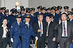 Police officers wait for US President Donald Trump outside the teppanyaki restaurant Ukai-tei in Ginza on November 5, 2017, Tokyo, Japan. US President Donald Trump and Japan's Prime Minister Shinzo Abe enjoyed dinner in Tokyo after playing golf in the afternoon. Japan is the first stop on his five-nation tour in Asia. (Photo by Rodrigo Reyes Marin/AFLO)