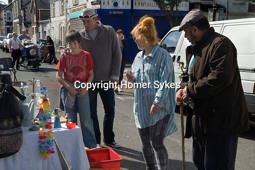 Made In Spring. Roath Cardiff Wales. Visual artist Rebecca Kelly with her Project Object stall where everything's free. May 2014