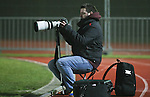 Picture by David Horn/Extreme Aperture Photography +44 7545 970036.18/02/2013.Photographer Arron Gent during the game between Chelmsford City and Havant & Waterville during the Blue Square Bet Blue Square South  League match at Melbourne Stadium, Chelmsford, Essex.