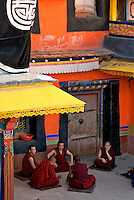 Debating Monks at The Jokhang also known as the Qoikang Monastery, Jokang, Jokhang Temple, Jokhang Monastery and Zuglagkang is a Buddhist temple in Lhasa.Tibet<br />
