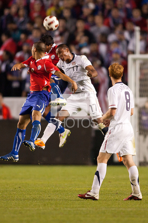 USA's Juan Agudelo (17) with a head ball. US Men's National team played the National team of Chile to 1-1 draw at Home Depot Center stadium in Carson, California on Saturday January 22, 2010.